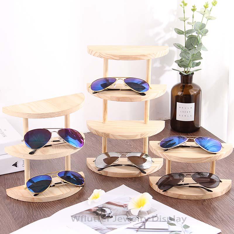 Professional Wooden Sunglasses Display Rack Eyeglasses Showing Desktop Jewelry Holder Bracelet Tray Stand Watch Shelf Organizer