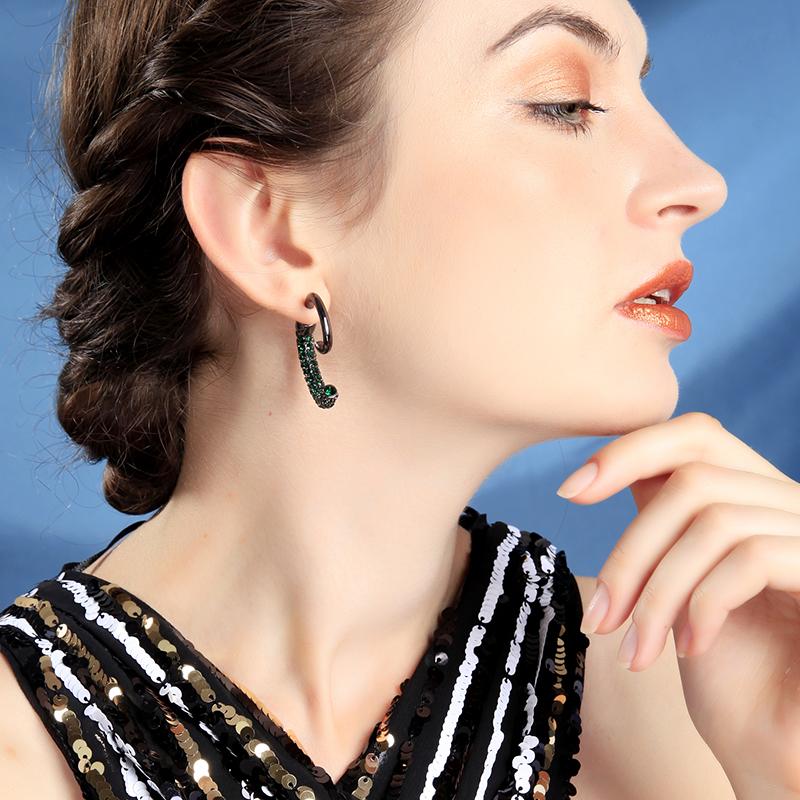 Atacado Street Style Único Punk Two-color Cristal Caracol Ear Jackets Para As Mulheres Presentes de Ouro ColorGun Cor de Metal Moda Jóias