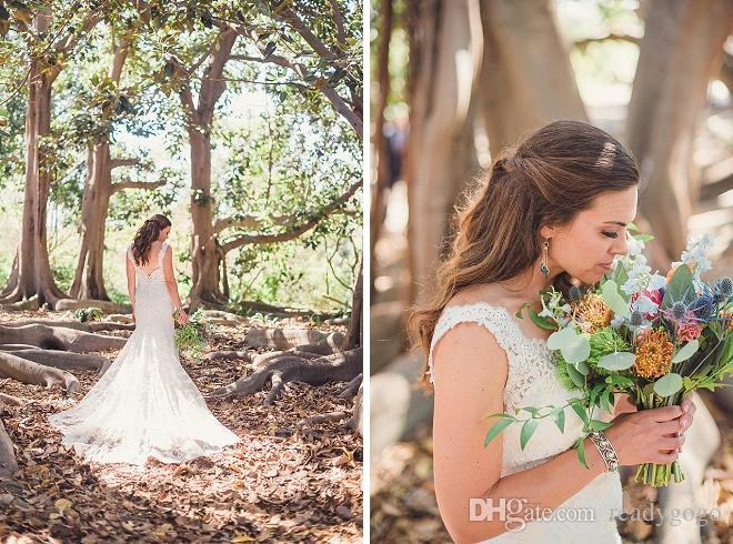 Modest Summer Wedding Dresses 2018 Full Lace Applique V-neck Open Back Sweep Train Plus Size Mermaid Country Garden Wedding Gown