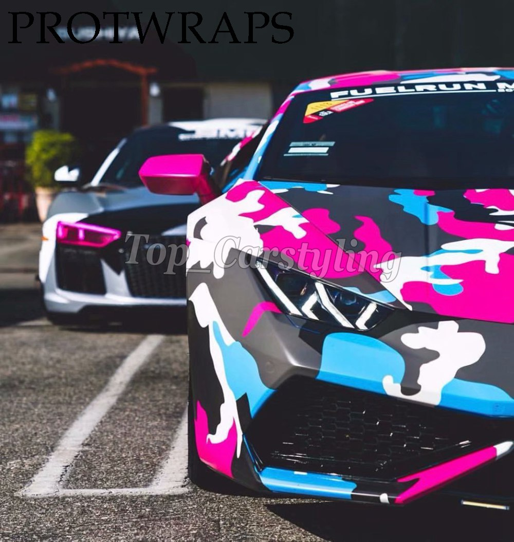Colorful camo vinyl black pink camoufalge car graphics covring (3)
