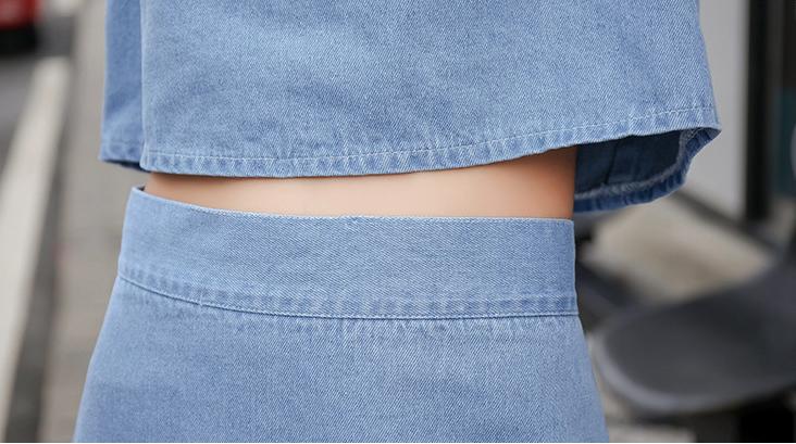 2019 nuevo 2 piezas conjunto floral Jeans chaqueta bordado sin mangas corto de cintura alta O-cuello delgado ocasional caliente venta C96501k SH190717