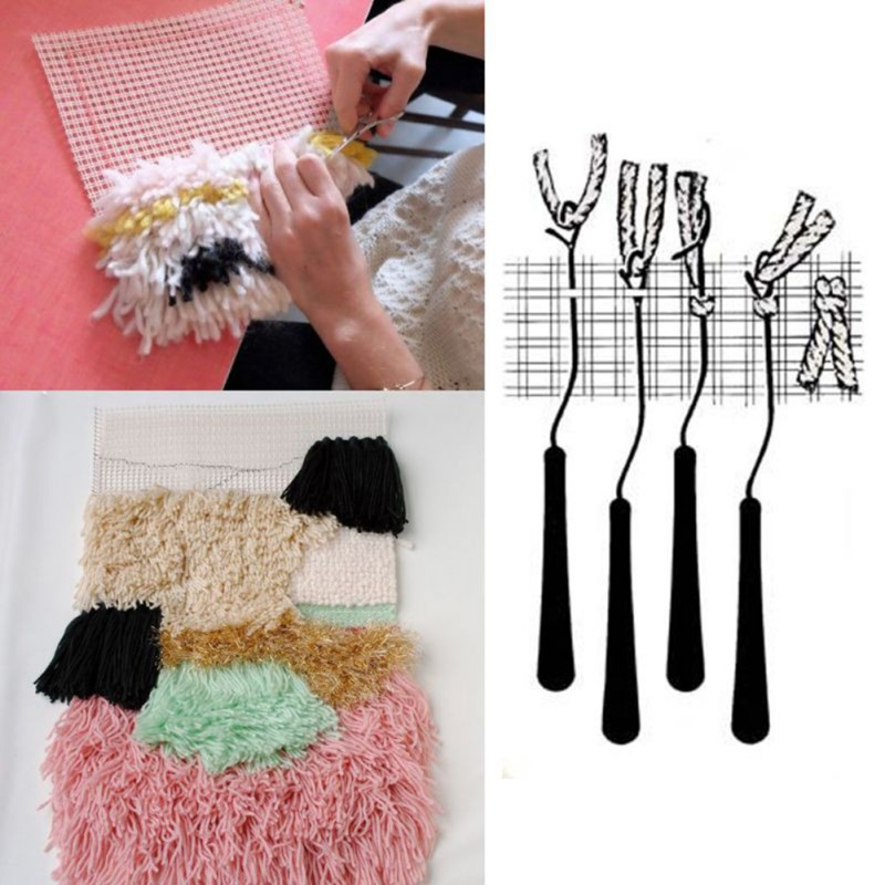 5pcs Latch Tools and Rug Hook Mesh Canvas DIY Crocheting Latch Hooking Craft