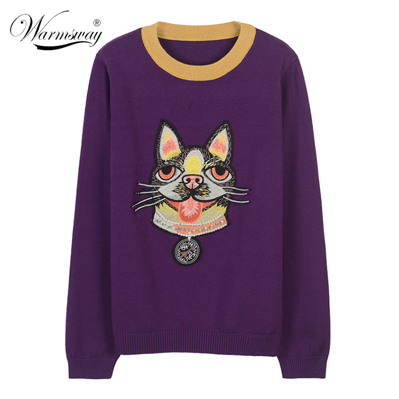 New Sweater Female Pullovers Cat Embroidery Winter Spring Knitted Pullover Runway Designer Pearl Beading Tops Jumper C-073