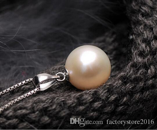 High Quality 925 Sterling Silver Necklace Luxury Pearl Ball Necklace Pendant + Chain Jewelry for Women 10MM 12MM Pearl