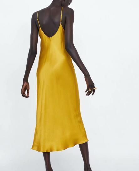 Women Imitate Silk Bodies Dress Backless Yellow Long Dress Party Night Sexy Club Wear Spaghetti Strap Y19071001