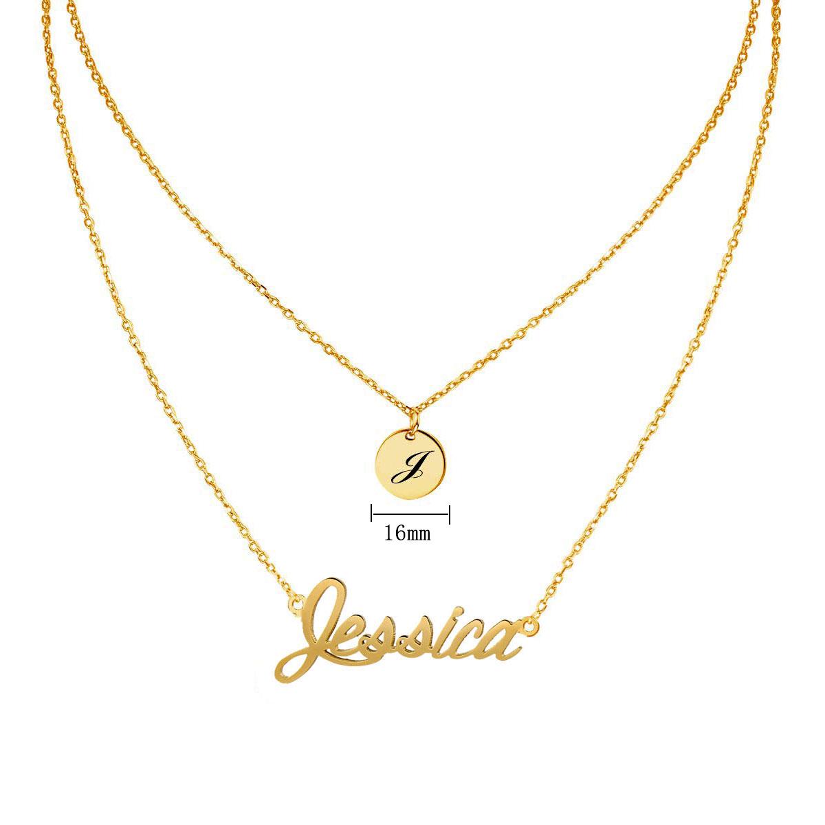 Oro Blanco Plateado Collar de nombre-Jessica-idea del regalo para ella-Novia Novia
