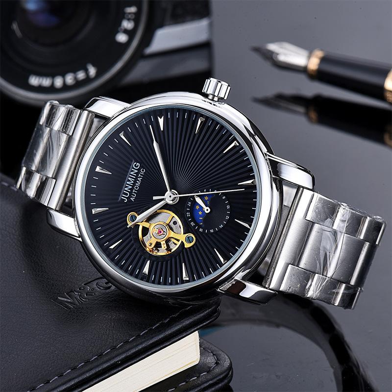 Moda Tourbillon Dial Relojes de pulsera Fase lunar Cinturón de acero inoxidable a prueba de agua Relojes automáticos para hombres Relojes para hombres