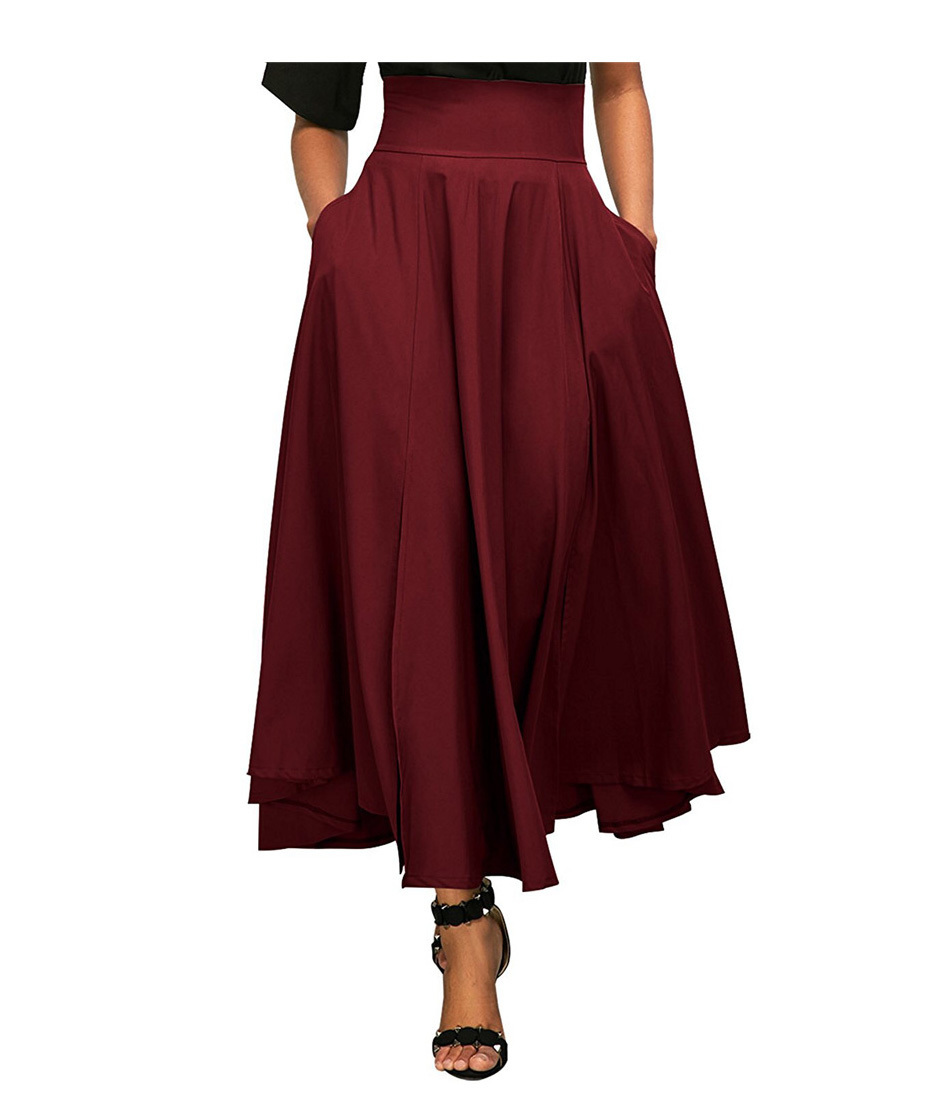 Zip-back Wide Waistband Swing Skirts Fashion Solid Color High Waist Maxi Skirt Double Pocket Lace-up A-line Skirt