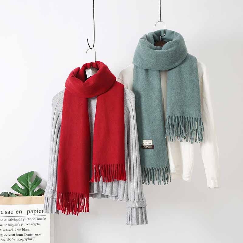 New Fashion Gray 100/% Cashmere Pashmina Solid Neck Tassel Long Soft Scarf
