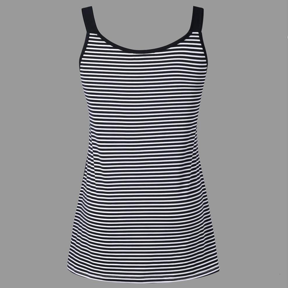 Débardeur sans manches Mode hiérarchisé Femmes Plus Size Stripe Débardeur Gilet O Neck T-shirt rayé de grande taille Patchwork