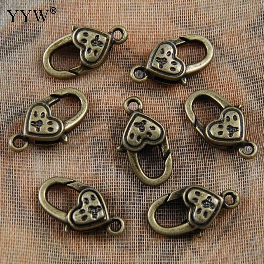 Claw lobster shrimp Clasp connector hook heart antique bronze for DIY bracelet necklace chain 11x20mm Hole:1.5mm
