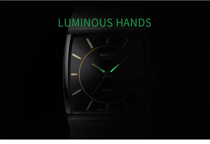 Factory Direct Sales Luxury Luminous Men`s Waterproof Watch NIBOSI Quartz European Style Unique New Square Stainless Steel Watch (8)