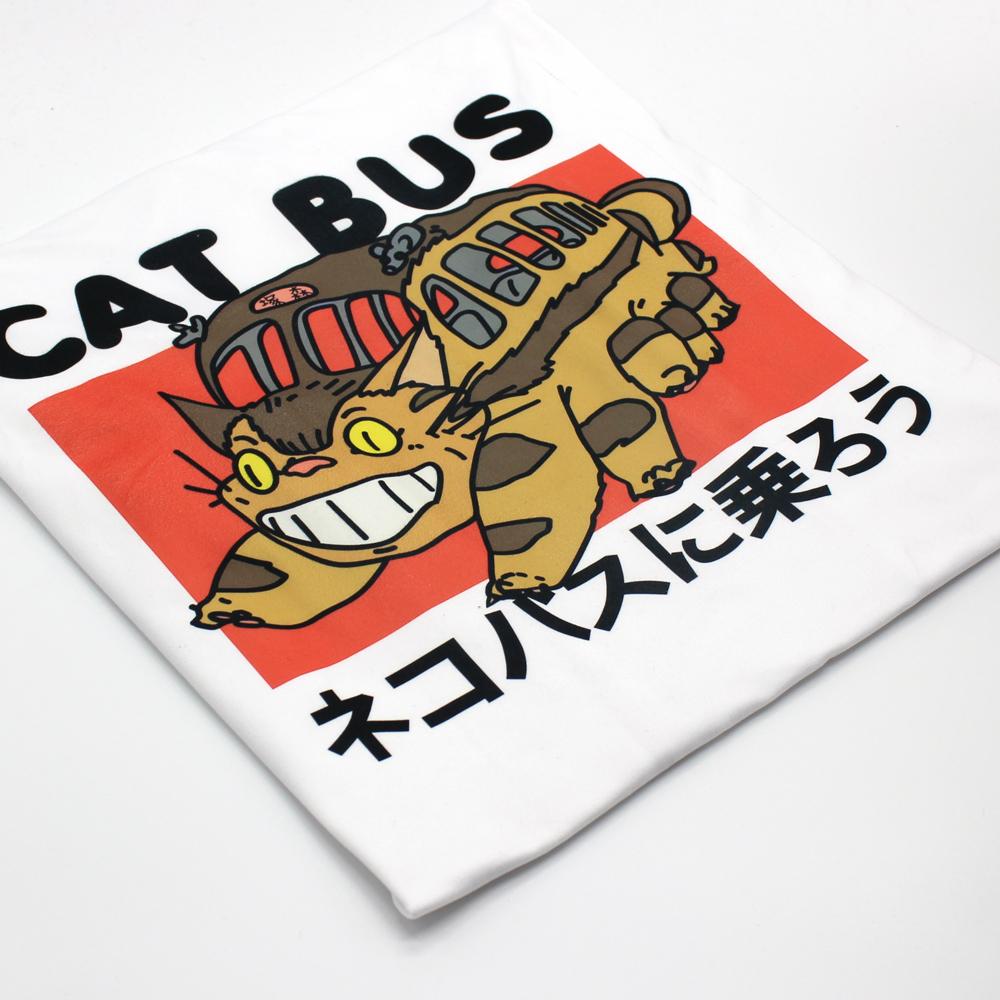 Hillbilly Studio Ghibli Vecino Totoro Ride The Cat Bus Anime Japonés Unisex Camiseta Blanca Casual Camisetas Tops de Verano Q190516