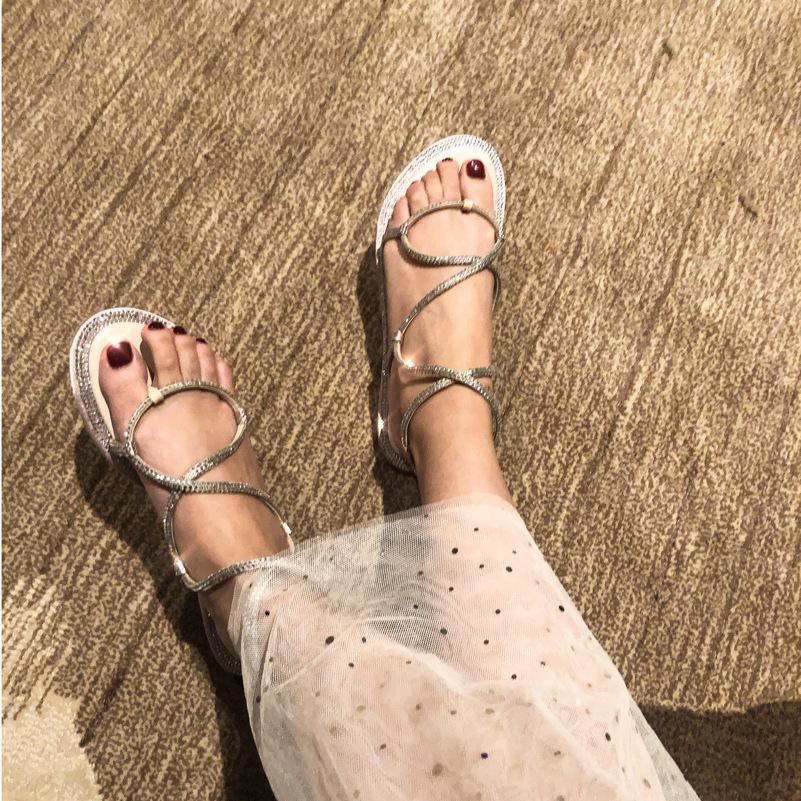 Hot2019 Flat Toe Bottom Rhinestone Wind One Word Buckle Bring Grace Woman Sandals Temperament Tide