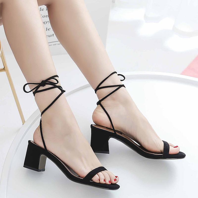 Wedding2019 Xiacu Kadın Sandalet Ayakkabı Geçişi Ile Bandaj Roma Bir Kelime Siyah Getirmek