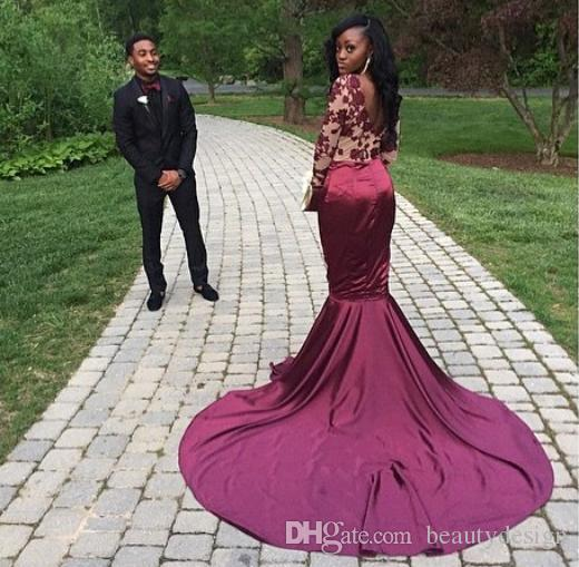 Burgundy Long Sleeves Lace Mermaid Evening Dresses 2017 Sexy Backless Court Train Sheer Prom Dresses Vestiods Formal Women Pageant Gowns