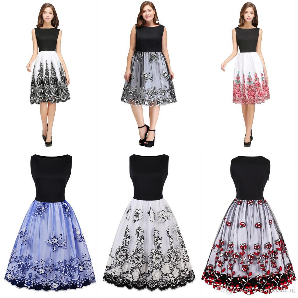 16 Im Lager Jahrgang 16 Kleid Retro Rockabilly Blumendruck-weißen  Partei-Kleid Schwarz Elegant Female Audrey Hepburn Kleid FS16