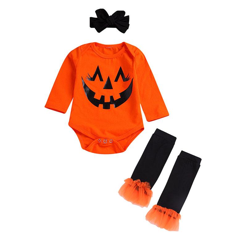 Halloween Toddle Baby Girl Vestiti Ruffle Top Bretella Zucca Pipistrello Fantasma Gonna Set con Fascia