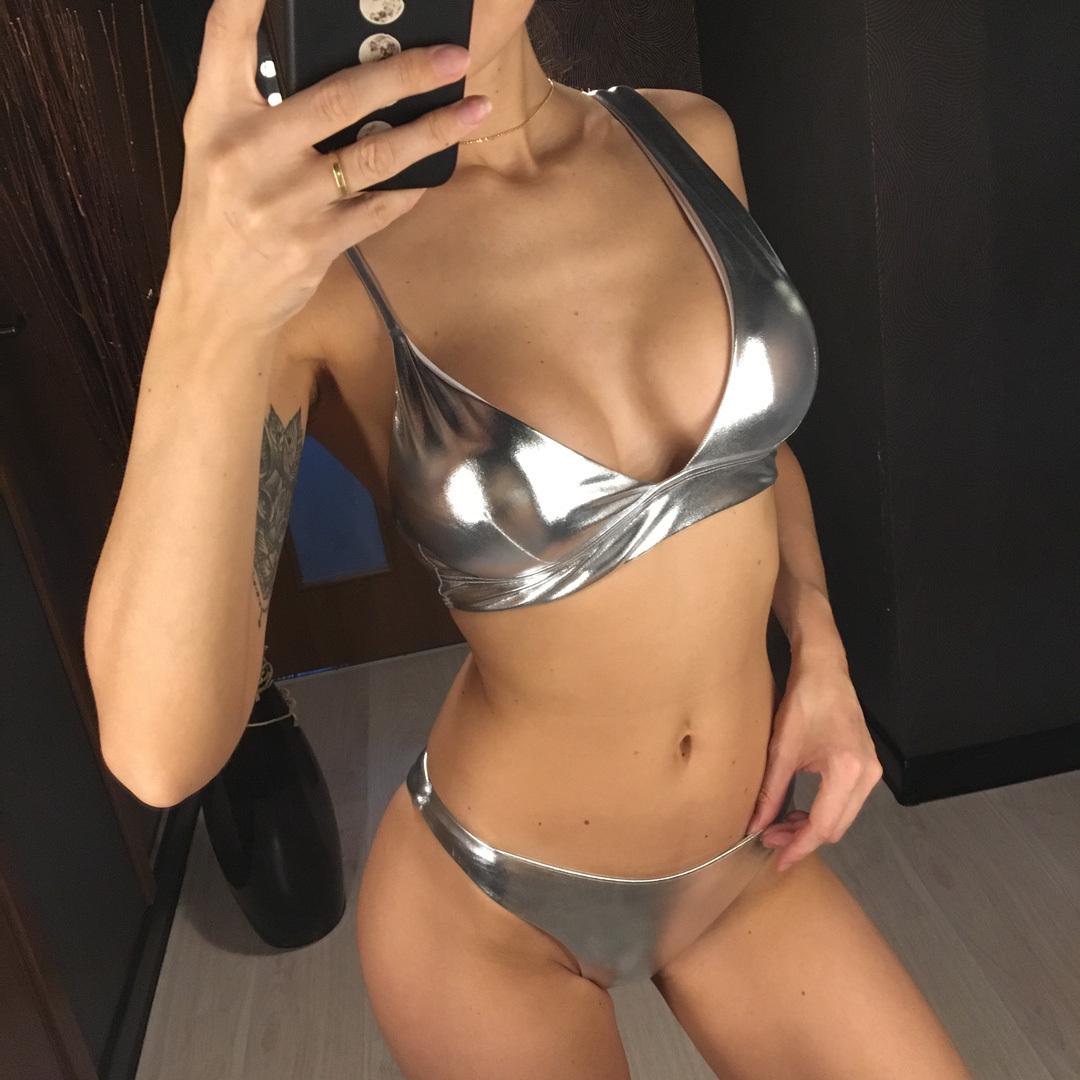 New Shiny Hot Pink Bikini 2019 Women Swimwear Female Swimsuit Two-pieces Bikini Set Asymmetrical Bather Bathing Suit Swim V1090p Y19072601
