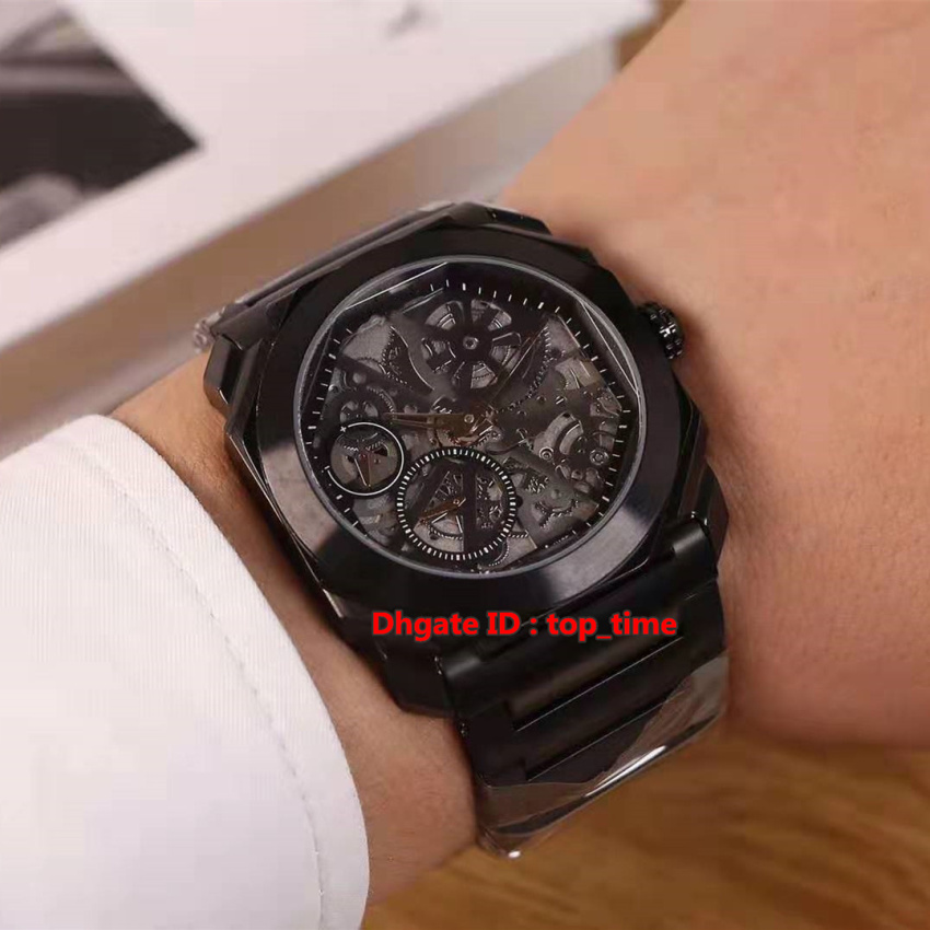 4 style4 High Quality Watch 40mm Octo Finissimo Skeleton Automatic Mens Watch 103010 Skeleton Dial Black PVD Steel Bracelet Gents Watches