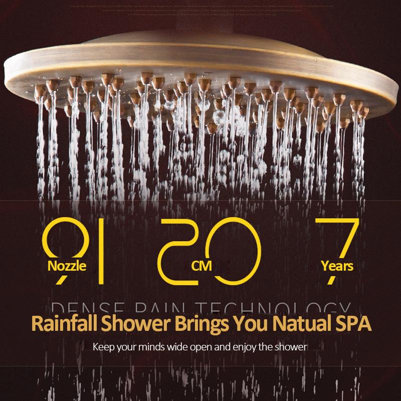 quyanre wanfan gappo antique brass shower faucet set brass rainfall shower head dual handles mixer tap wall mount antique brass shower kit2