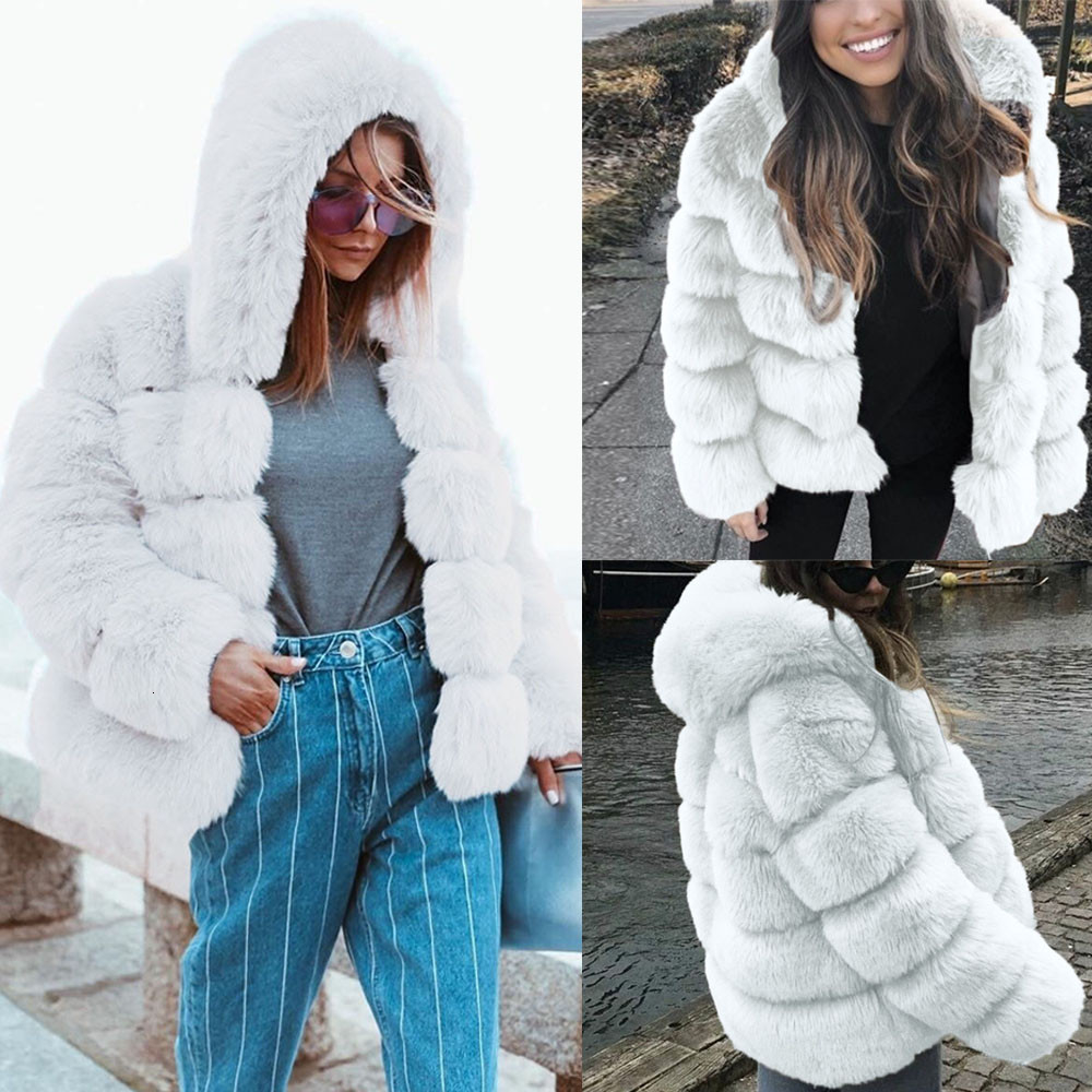 Gradient Color Special Women/'s Long Sleeved Faux Fur Coat JACKET Light Gray New