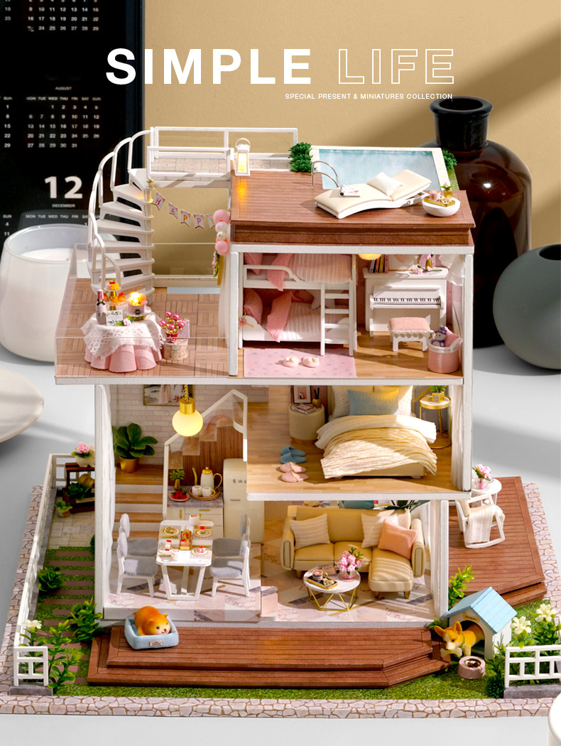 2020 Dy1002 Diy Cabin So Well Large Villa Handmade Aesthetic Pattern Atmosphere Gifts Blocks Model Building Diy Country House From Goolye 112 57 Dhgate Com
