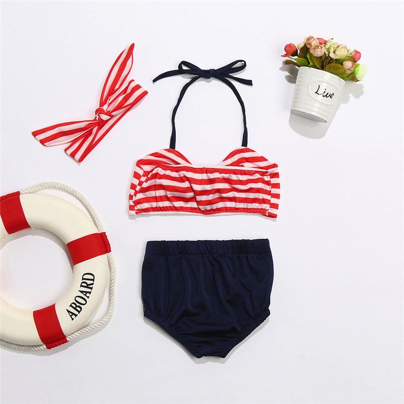 3Pcs Baby Girl Swimwear Infant Kids Baby Girls Straps Bow Tops+Button Shorts+Headband Swimwear Beach Swimsuit Bathing Set M8Y17 (10)