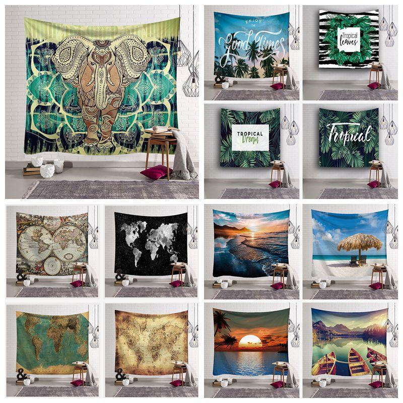 Grande Tessuto Rettangolare Art Decor per Soggiorno Camera da Letto,150/×130Cm Etnico Indiano Vintage Colorata Tappezzeria da Parete Elefante su Mandala Blu Arazzo da Parete