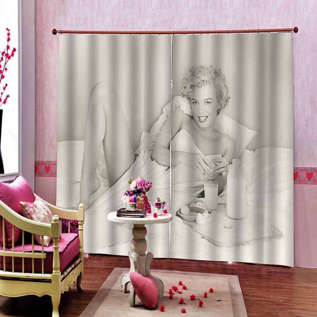 Deco Chambre Maryline Monroe personnalisé noir et blanc rétro marilyn monroe rideau salon chambre  blackout fenêtre ensembles rideaux décor intérieur