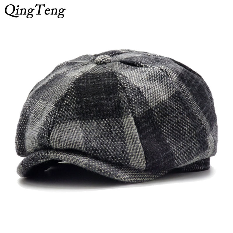 Fedora Hats Summer Casquette Black Grey Tweed Flat Cap Mens Gatsby Hat Snapback Gorra Hombre