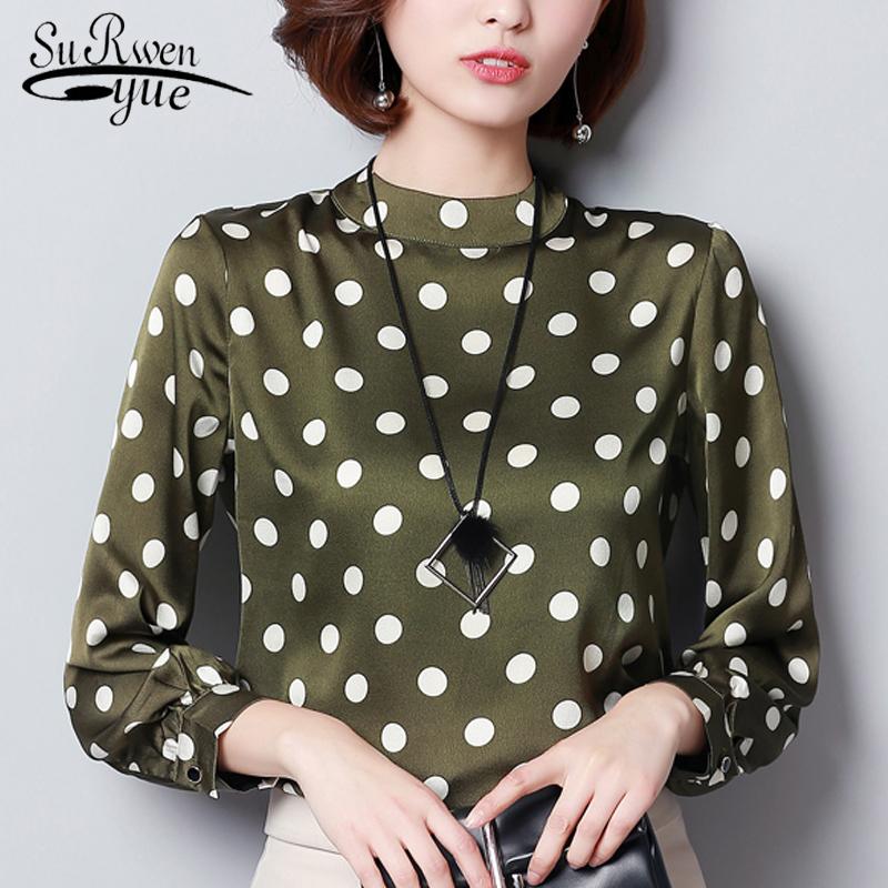 Autumn Wave Point Shirt Donna Moda Donna Top e camicette 2019 Maniche lunghe Plus Size 3xl Camicetta in chiffon Blusa Blusa 1055 40 J190610