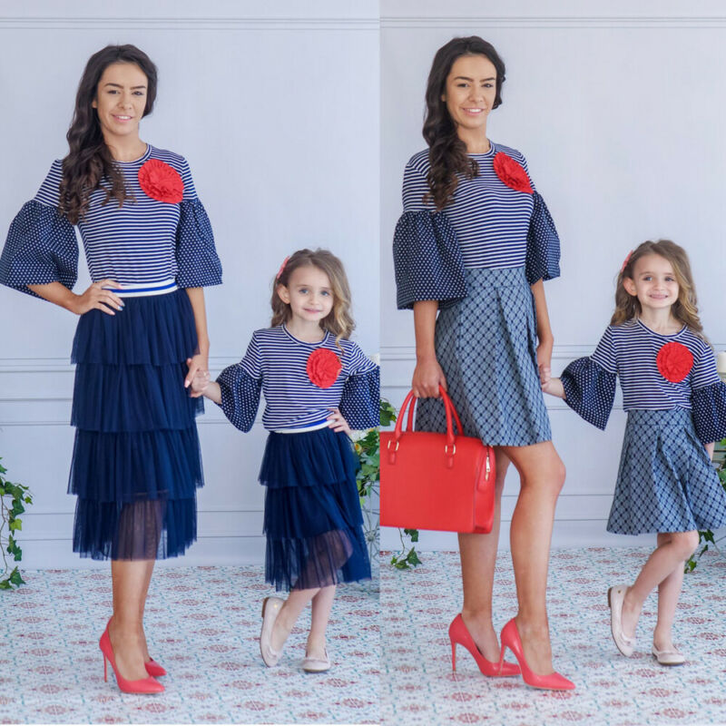Mom and Me Family Matching Dress Mother Daughter Floral Holiday Summer Dress US