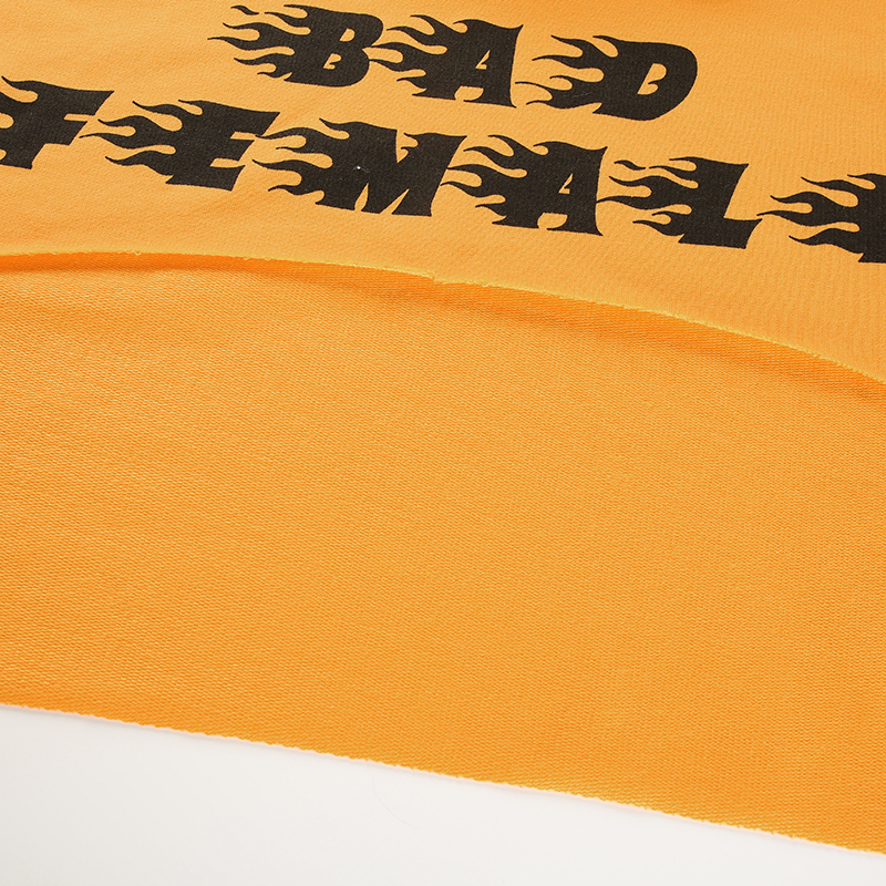 11Sweetown Plus Size Crop Top Long Sleeve Tshirt Women Orange Letter Printed Tee Shirt Femme Girl Power Woman T Shirt Hoodie Top