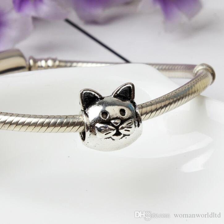 Cat Big Hole Loose Beads chamilia beads fashion accessories charm Pandor DIY Jewelry Bracelet European Bracelet Necklace