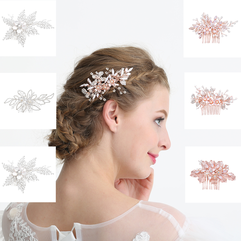 Bride Hair Combs Crystal Exquisite Pearl Headdress Inserted Comb Hair Jewelry Wedding Dress Accessories Banquet For Party