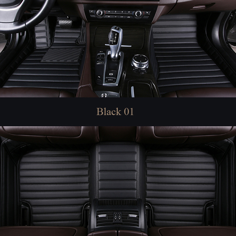 Custom Car Floor Mats for Audi S7 2013-2018 Full Surrounded Waterproof Anti-Slip All Weather Protection Leather Material Car mat Carpet Liners Accessories Black and Beige