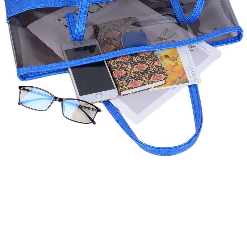 Laamei 2 UnidsTransparent Jelly Beach Candy Women Shoulder Bag