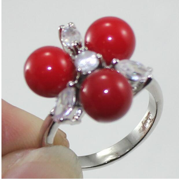 Fashion 12x16MM Corail Rouge South Sea Shell Pearl plaqué or Dangle Earrings