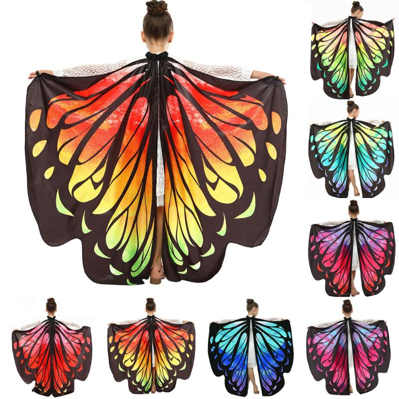 Butterfly Cloak Wings Cape Shawl Fairy Costume Fancy Dress Up For Girls Kids New