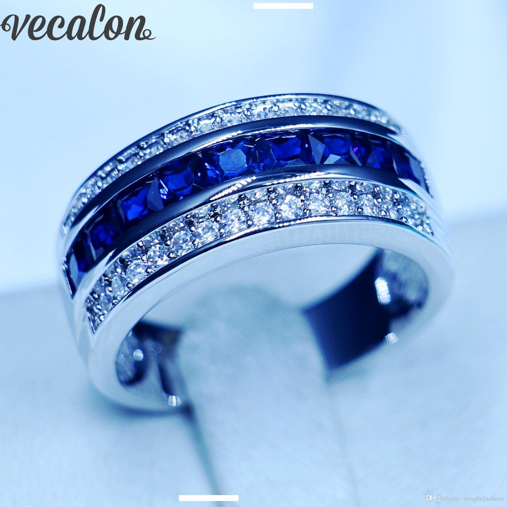 Bleu Taille 9 cristal saphir bague femme 10KT or blanc rempli Mariage Bande