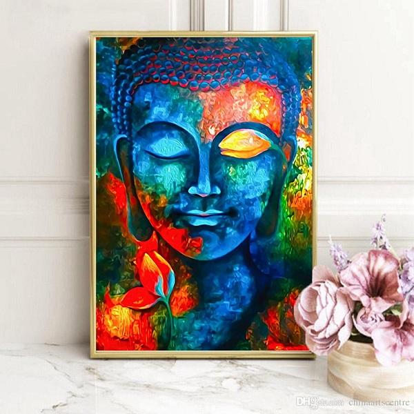 3 Pezzi Dipinti Olio Tela Testa Buddha Pittura Decorativo Casa Parete Vdata My