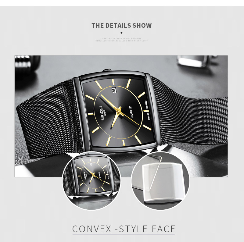 Factory Direct Sales Luxury Luminous Men`s Waterproof Watch NIBOSI Quartz European Style Unique New Square Stainless Steel Watch (9)