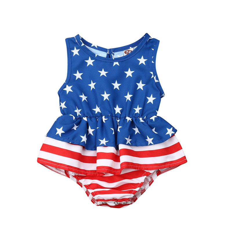 4th of July Baby Girl 1st Independence Day US Flag Romper Pant Headband Outfits