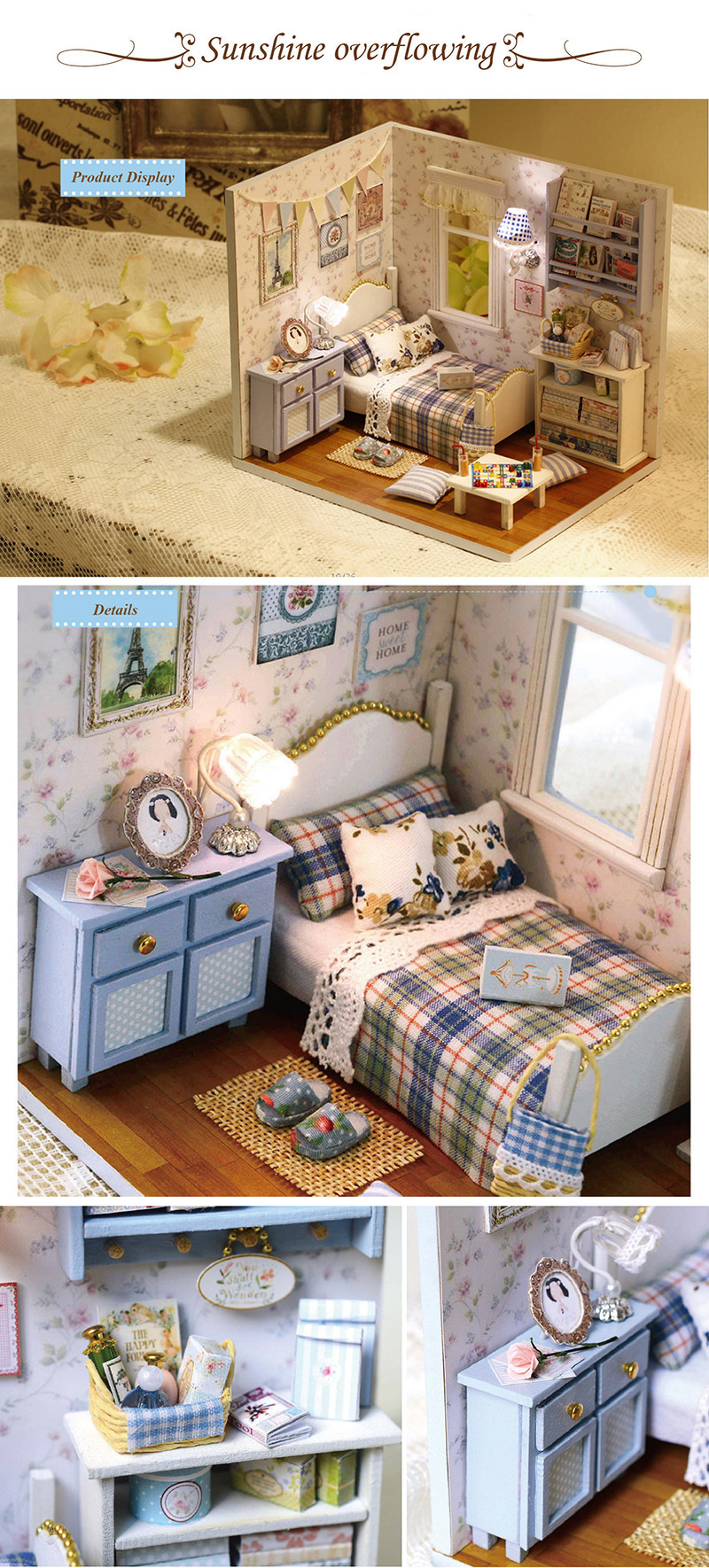 Sunshine Overflowing 3D DIY Wooden Doll House Handmade Mini Puzzle Miniature Furniture Toy Dollhouse Educational Toys Gift (1)