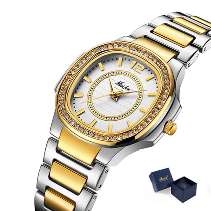 Luxe Montre en cristal de femmes Bracelet en acier Mesdames bracelet étanche en or rose Montres Top Marque Bracelet Horloge