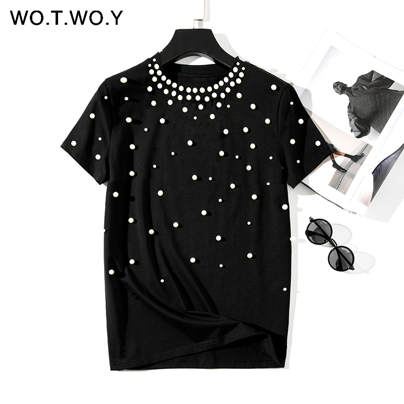 2019 Summer New Pearls Beaded T-Shirt Women Cotton Loose Casual Tops Women Short Sleeve O-Neck T Shirt Black High Quality