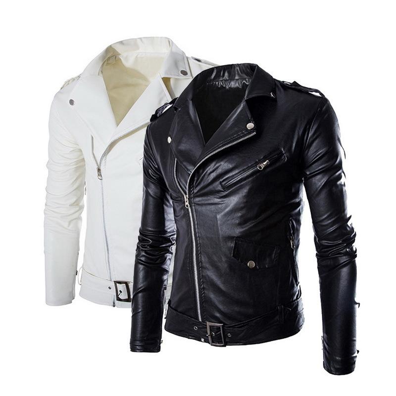 Spring Autumn Fashion Motorcycle Jackets Pu Leather Moto Jackets Men Slash Zipper Lapel Biker Rider Faux Leather Coat