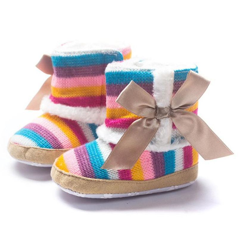 1 Pair Baby Girl Boots Baby Girl Rainbow Bowknot Soft Sole Snow Boots Soft Crib Shoes Toddler winter Boots bota infantil D10 (9)