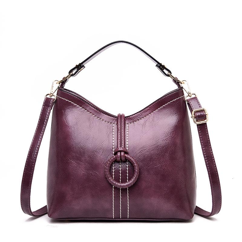 Средняя 2019 Возраст Простота Bucket масло Воск кожи портативного одного плечо Женского пакет сумка сумка сумка
